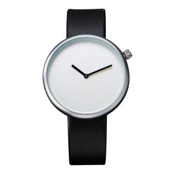 T006 Men Casual Soft Leather Band Quartz Watches with Box - SILVER AND BLACK SILVER/BLACK