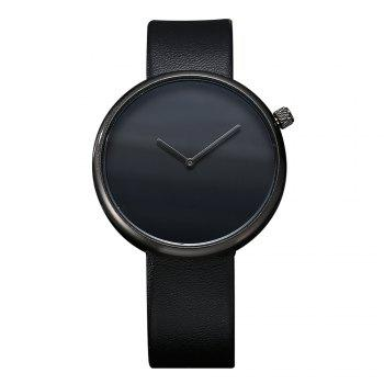 T006 Men Casual Soft Leather Band Quartz Watches with Box - BLACK BLACK