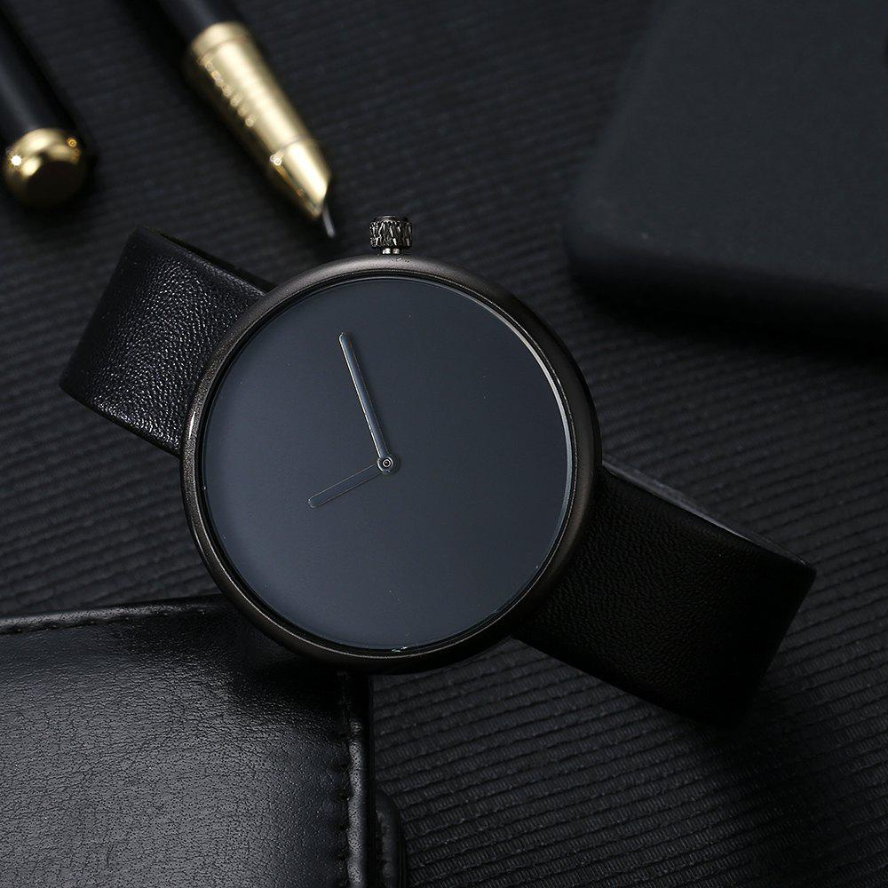 T006 Men Casual Soft Leather Band Quartz Watches with Box - BLACK