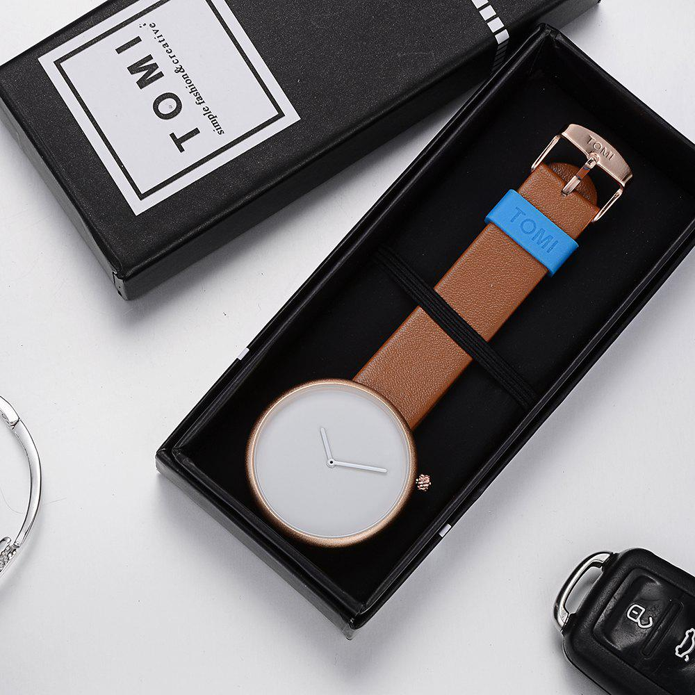 TOMI T006 Men Casual Soft Leather Band Quartz Watches with Box - ROSE GOLD/BROWN