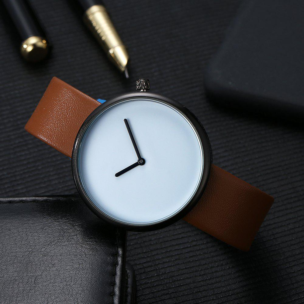 T006 Men Casual Soft Leather Band Quartz Watches with Box - BLACK/BROWN