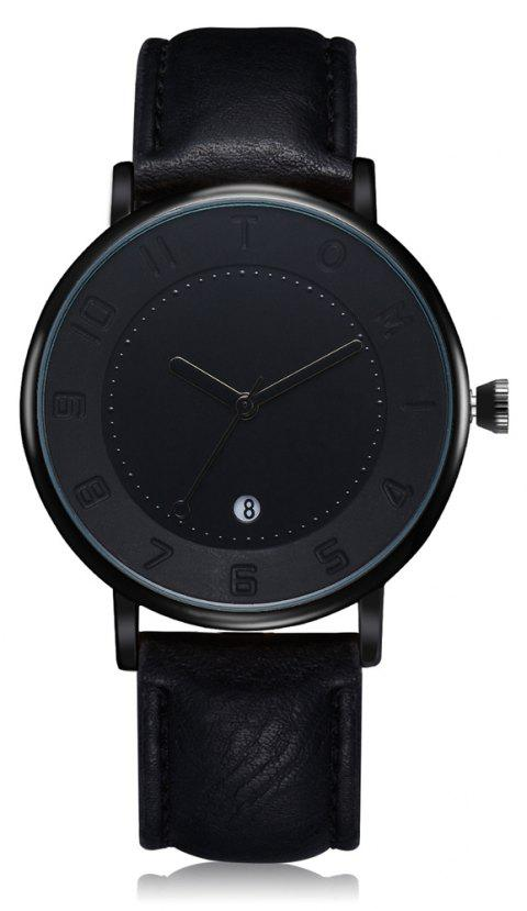TOMI T014 Men Round Leather Band Wrist Watch with Box - BLACK