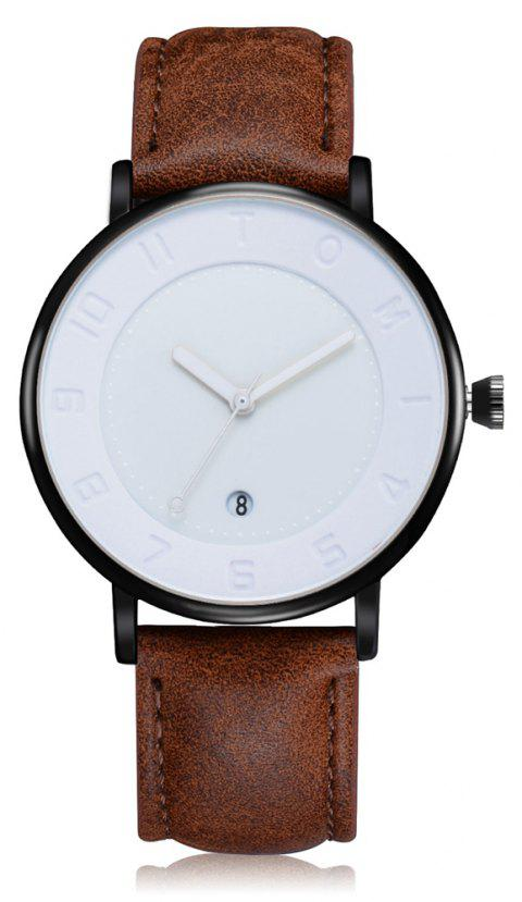 TOMI T014 Men Round Leather Band Wrist Watch with Box - BLACK/COFFEE