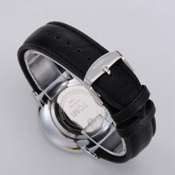 T014 Men Round Leather Band Wrist Watch with Box -  SILVER/BLACK