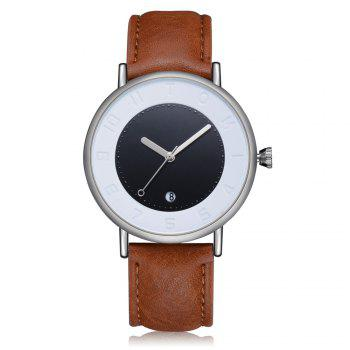 T014 Men Round Leather Band Wrist Watch with Box - SILVER AND COFFEE SILVER/COFFEE