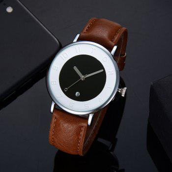 T014 Men Round Leather Band Wrist Watch with Box -  SILVER/COFFEE