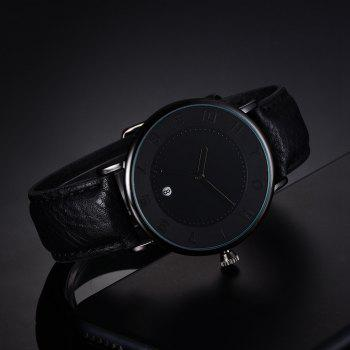 T014 Men Round Leather Band Wrist Watch with Box - BLACK