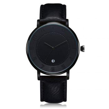 T014 Men Round Leather Band Wrist Watch with Box - BLACK BLACK