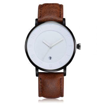 T014 Men Round Leather Band Wrist Watch with Box - BLACK AND COFFEE BLACK/COFFEE