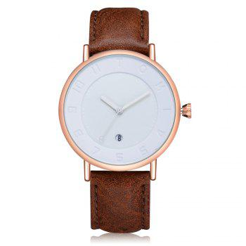 T014 Men Round Leather Band Wrist Watch with Box - ROSE GOLD AND BROWN ROSE GOLD/BROWN