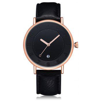 TOMI T014 Men Round Leather Band Wrist Watch with Box - BLACK AND ROSE GOLD BLACK/ROSE GOLD