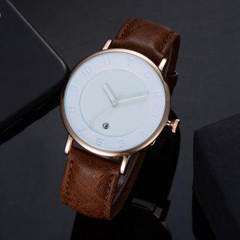 TOMI T014 Men Round Leather Band Wrist Watch with Box - ROSE GOLD/BROWN