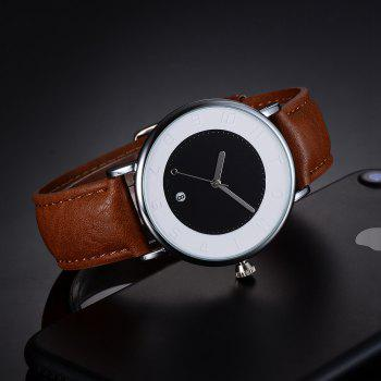 TOMI T014 Men Round Leather Band Wrist Watch with Box - SILVER/COFFEE