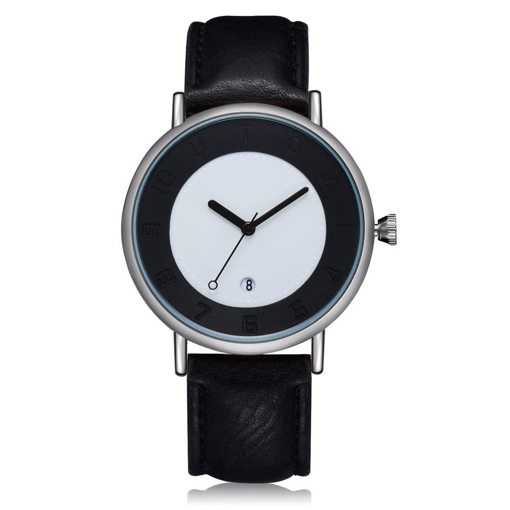 TOMI T014 Men Round Leather Band Wrist Watch with Box - SILVER/BLACK