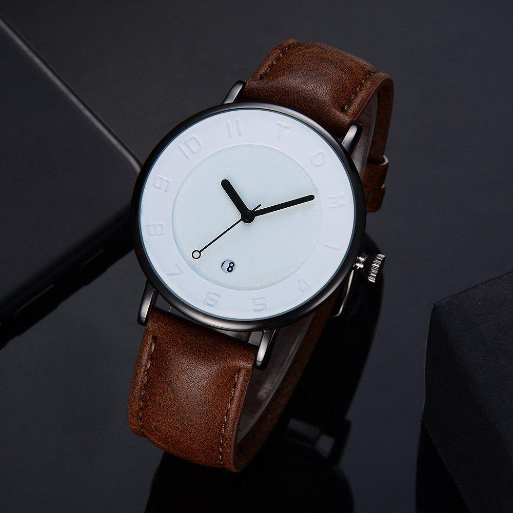 T014 Men Round Leather Band Wrist Watch with Box - BLACK/COFFEE