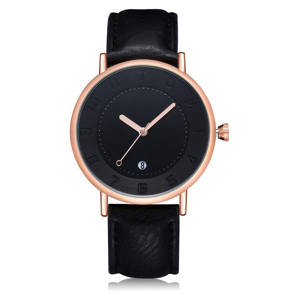 TOMI T014 Men Round Leather Band Wrist Watch with Box - BLACK/ROSE GOLD