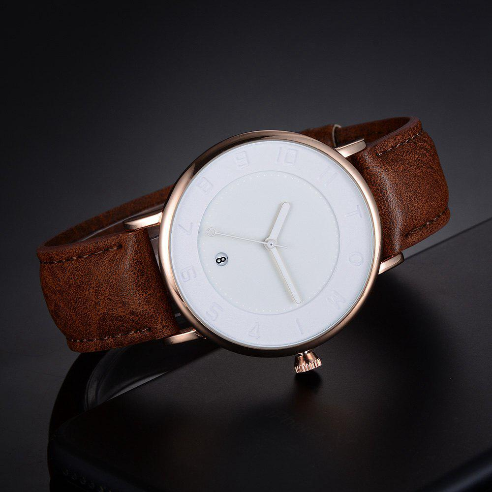 T014 Men Round Leather Band Wrist Watch with Box - ROSE GOLD/BROWN
