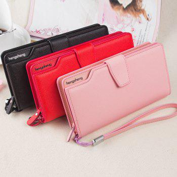 Handbag Wallet New Cross-Shaped Long Candy-Colored Zipper Purse Lady with Button - BLACK