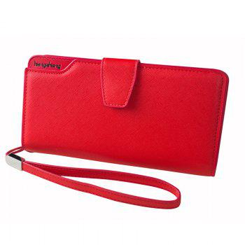 Handbag Wallet New Cross-Shaped Long Candy-Colored Zipper Purse Lady with Button - RED RED