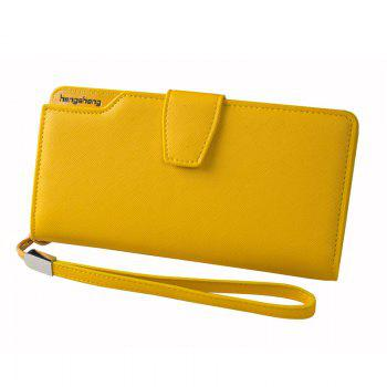 Handbag Wallet New Cross-Shaped Long Candy-Colored Zipper Purse Lady with Button - YELLOW YELLOW