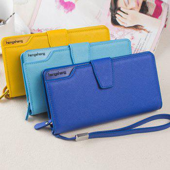 Handbag Wallet New Cross-Shaped Long Candy-Colored Zipper Purse Lady with Button -  YELLOW