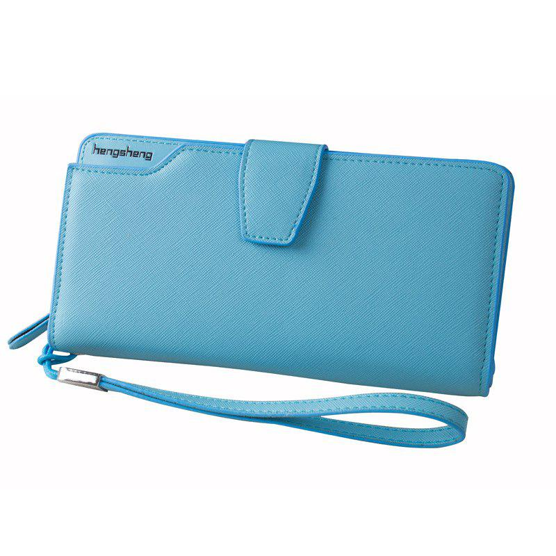 Handbag Wallet New Cross-Shaped Long Candy-Colored Zipper Purse Lady with Button - AZURE