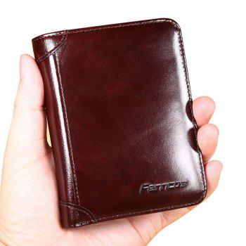 Purse Men'S Leather Short Paragraph First Layer of Leather Multi-Card Holder Wallet Retro Large Capacity Casual Bag Thin - BROWN BROWN