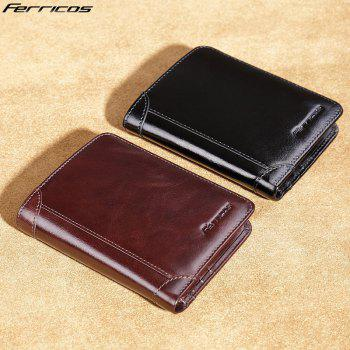 Purse Men'S Leather Short Paragraph First Layer of Leather Multi-Card Holder Wallet Retro Large Capacity Casual Bag Thin -  BROWN