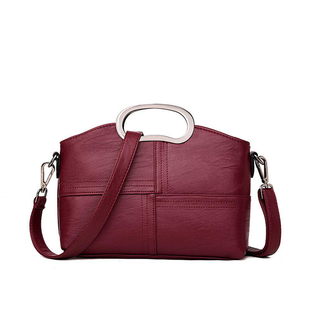 Portable Fashion Wild Shoulder Messenger Casual Lady Big Bag - BURGUNDY