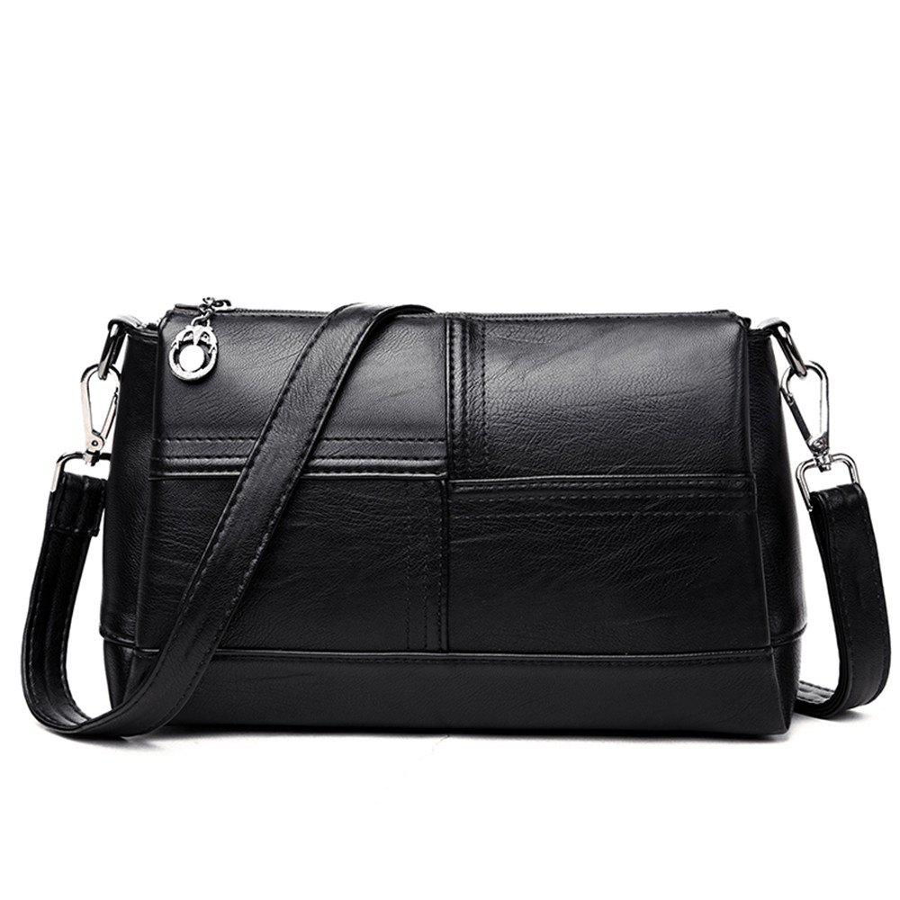 Messenger Female Fashion Stitching Wild Shoulder Bag - BLACK