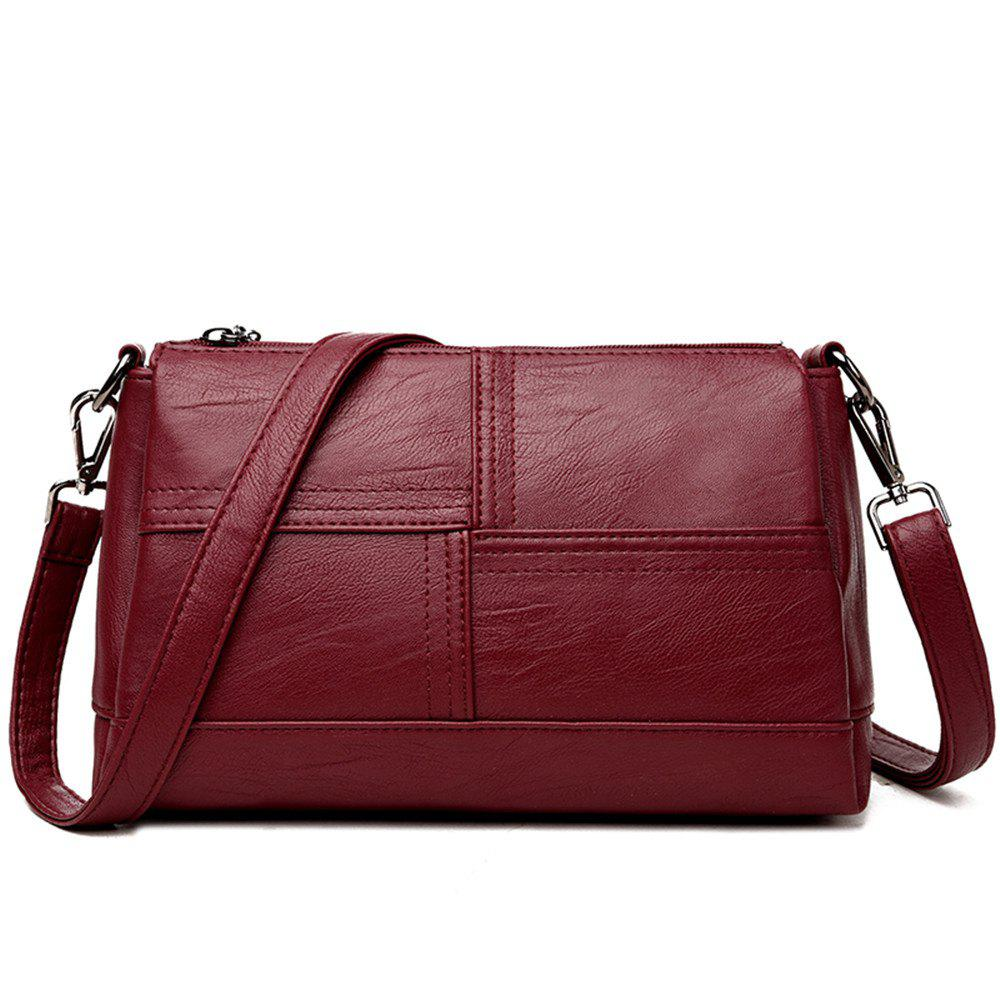 Messenger Female Fashion Stitching Wild Shoulder Bag - BURGUNDY