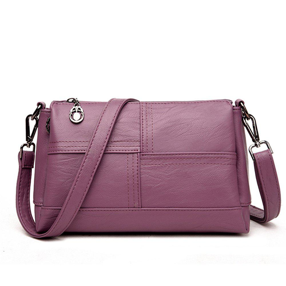 Messenger Female Fashion Stitching Wild Shoulder Bag - PURPLE