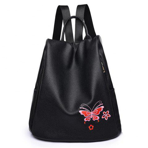 Embroidered Shoulders Female Fashion Mommy Backpack - RED
