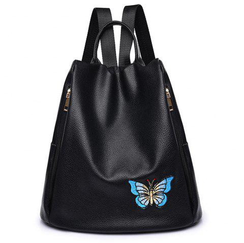 Embroidered Shoulders Female Fashion Mommy Backpack - BLUE