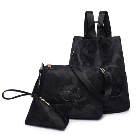 Nylon Simple Fashion Personality Mummy Backpack Package - BLACK