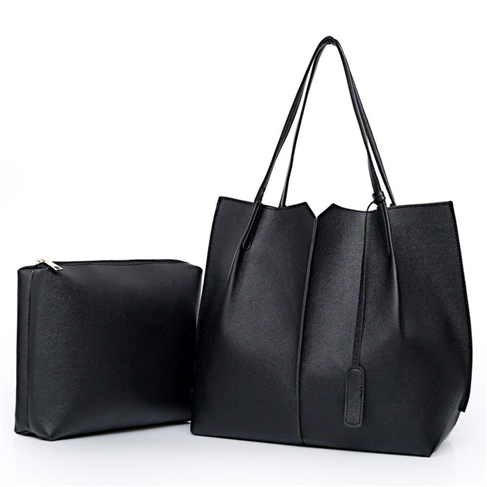 Tote Shoulder Simple Two Pieces Handbag - BLACK