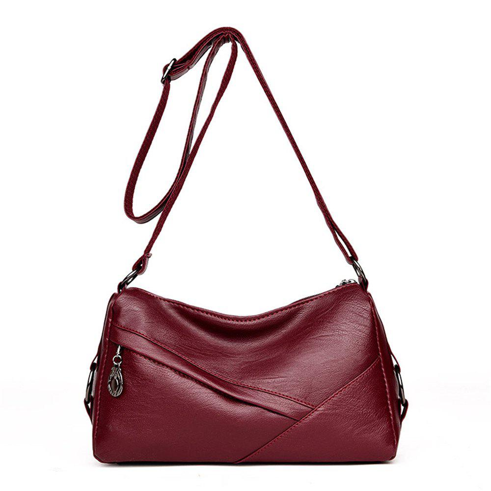 Soft Leather Lady Simple Atmospheric Shoulder Messenger Mother Bag - RED
