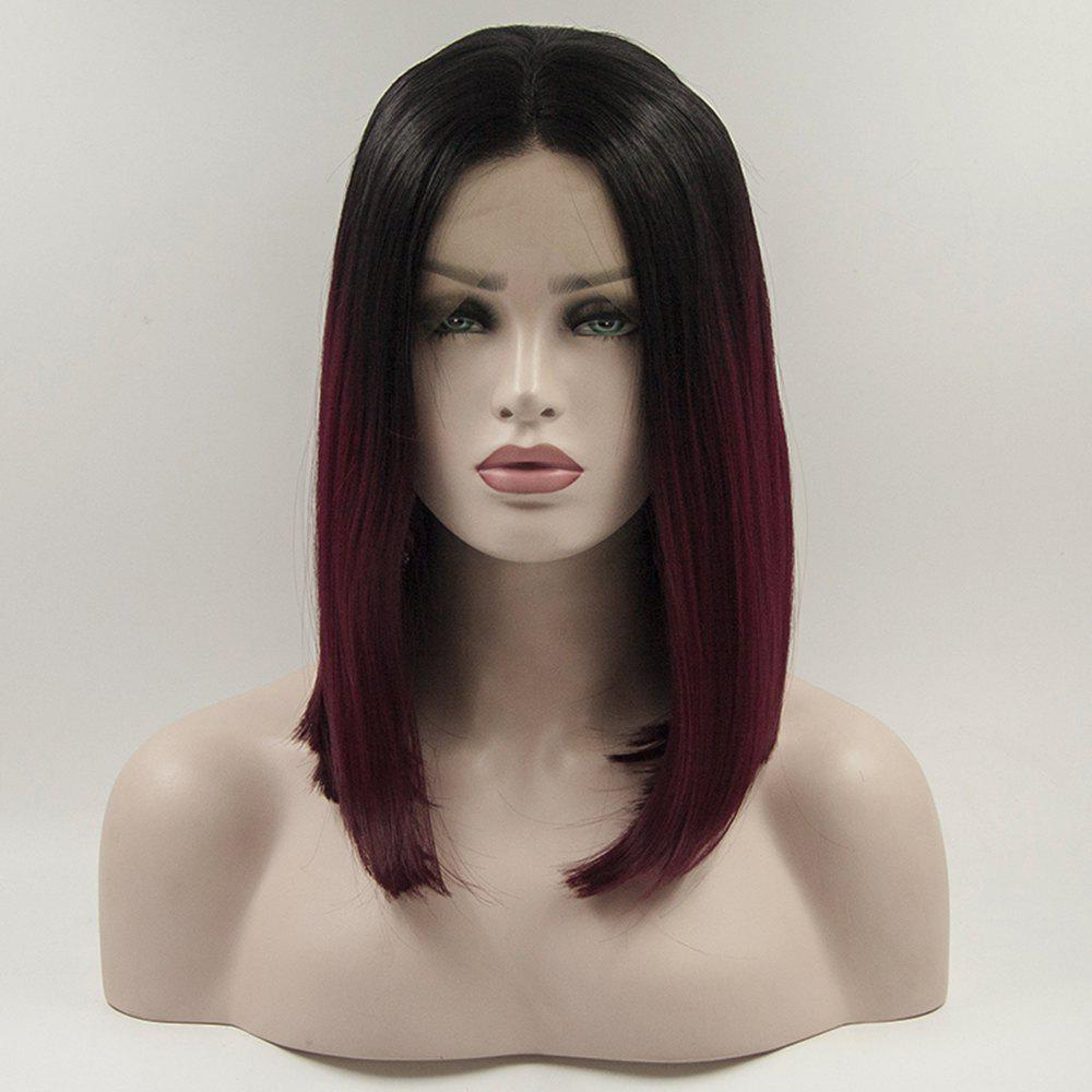12 - 16 inch Medium Length Burgundy Black Root Heat Resistant Synthetic Hair Wigs for Women