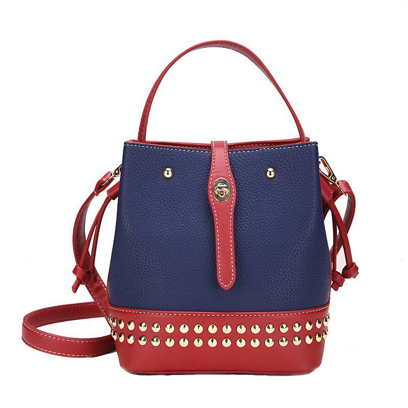 Drawstring Buckle Rivet Bucket Bag Diagonal Shoulder Handbag - BLUE