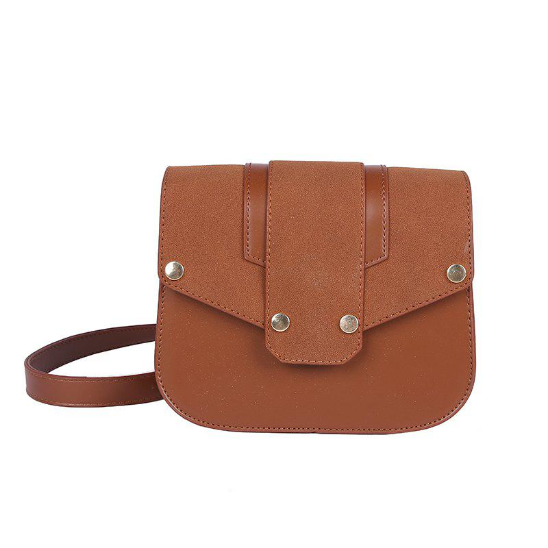 Small Rivet Chain Bag Shoulder Messenger Bag - BROWN