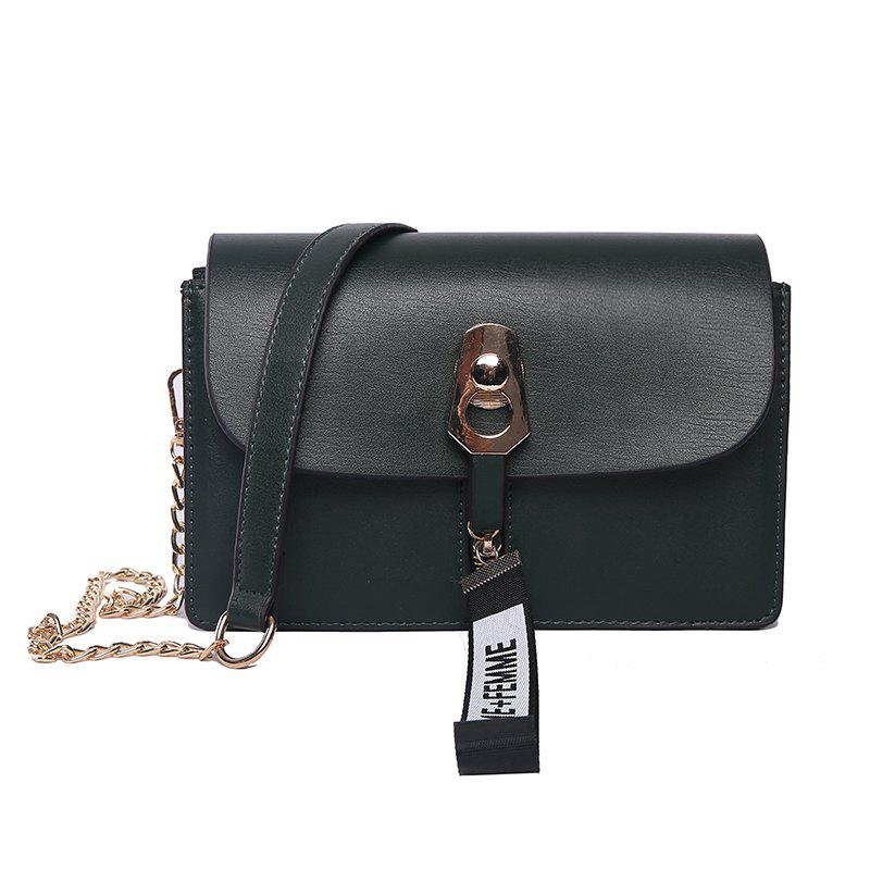 Simple and Versatile Chain Female Diagonal Shoulder Bag - GREEN