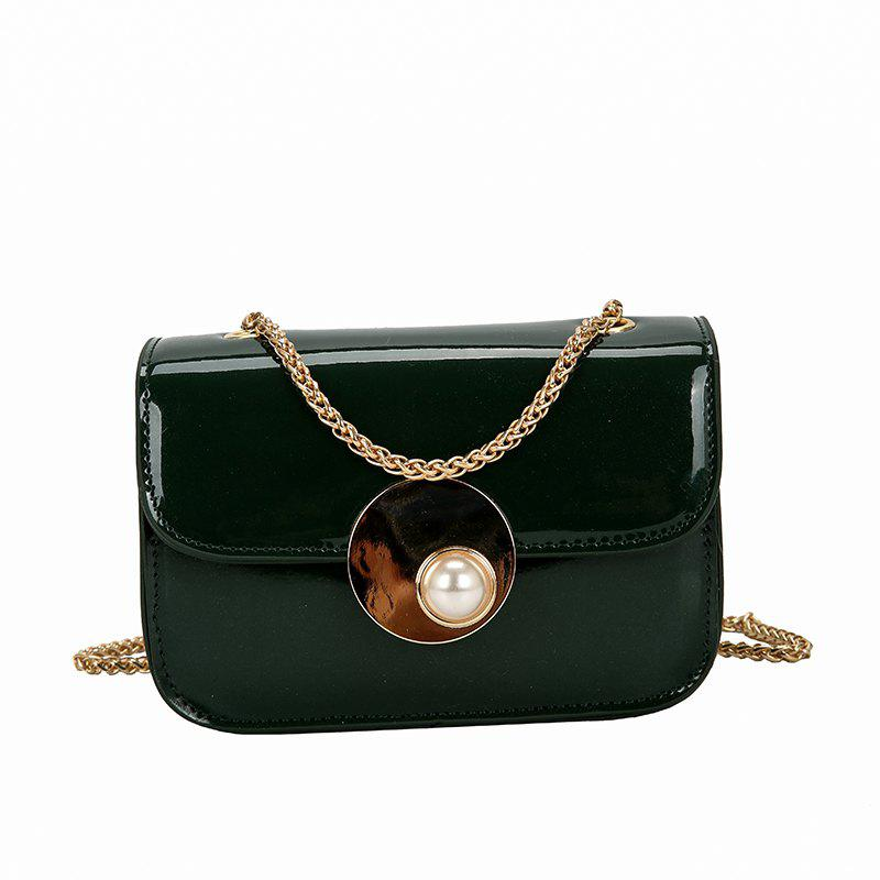 Bright Buckle Portable Fashion Wild Messenger Bag - GREEN