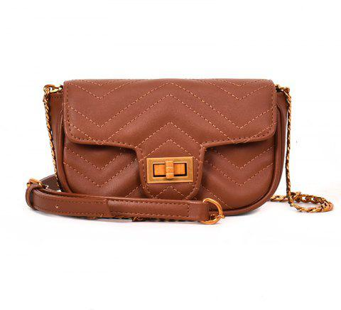 Shoulder Lock Small Square Bag Messenger Bag - BROWN