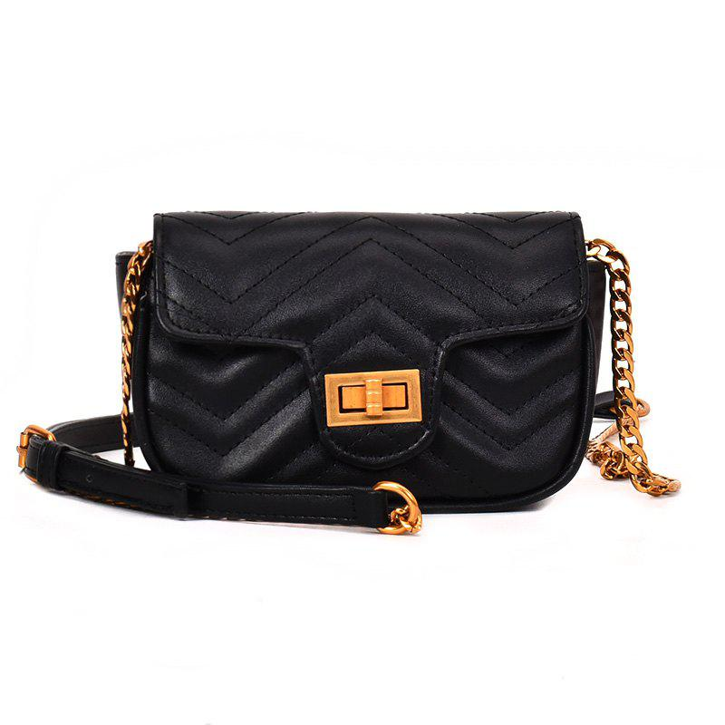 Shoulder Lock Small Square Bag Messenger Bag - BLACK