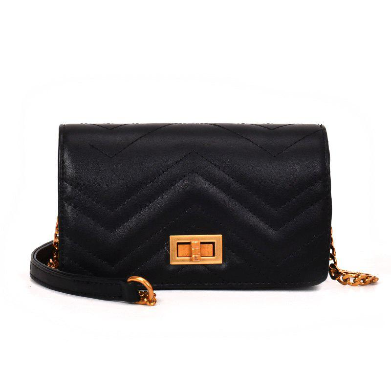 Small Fragrant Fashion Wild Buckle Messenger Bag - BLACK