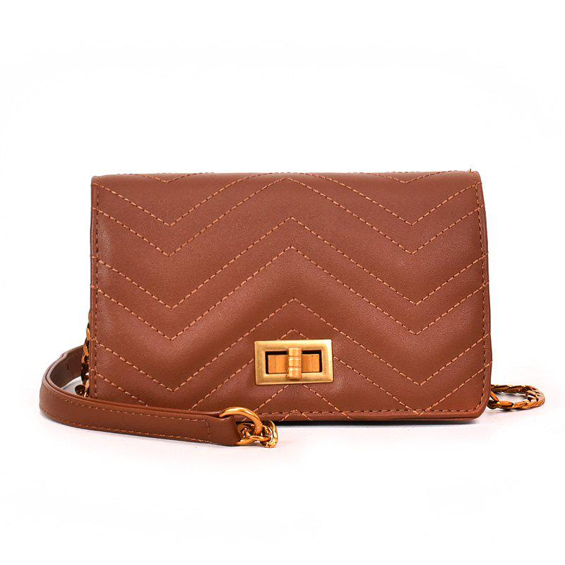 Small Fragrant Fashion Wild Buckle Messenger Bag - BROWN