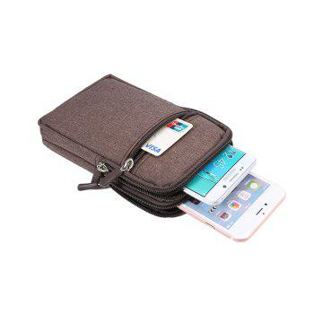Universal Denim Leather Cell Phone Bag Belt Clip Pouch Waist Purse Case Cover For All SmartPhone Below 6.3 Inch - BROWN