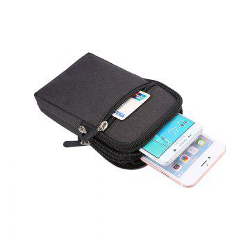 Universal Denim Leather Cell Phone Bag Belt Clip Pouch Waist Purse Case Cover For All SmartPhone Below 6.3 Inch - BLACK