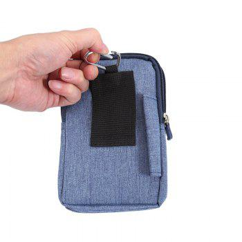 Universal Denim Leather Cell Phone Bag Belt Clip Pouch Waist Purse Case Cover For All SmartPhone Below 6.3 Inch - BLUE