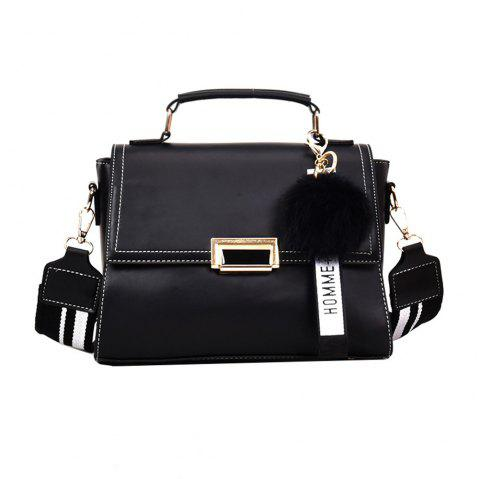 Fashionable Atmosphere Female Wild Messenger Shoulder Bag Wide Strap Small Square Package - BLACK